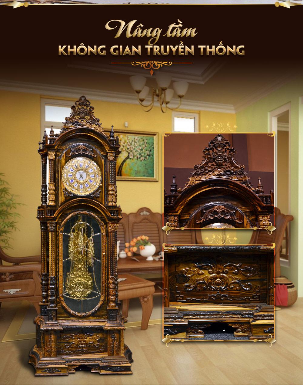 Đồng hồ quả tạ cổ Pháp DH27 gỗ mun hoa nhập khẩu
