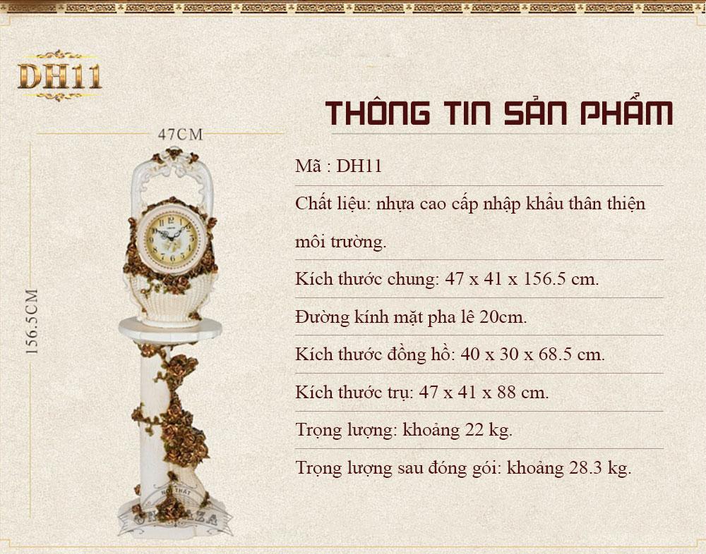 Đồng hồ DH11 tân cổ điển phong cách giỏ hoa bên vườn địa đàng