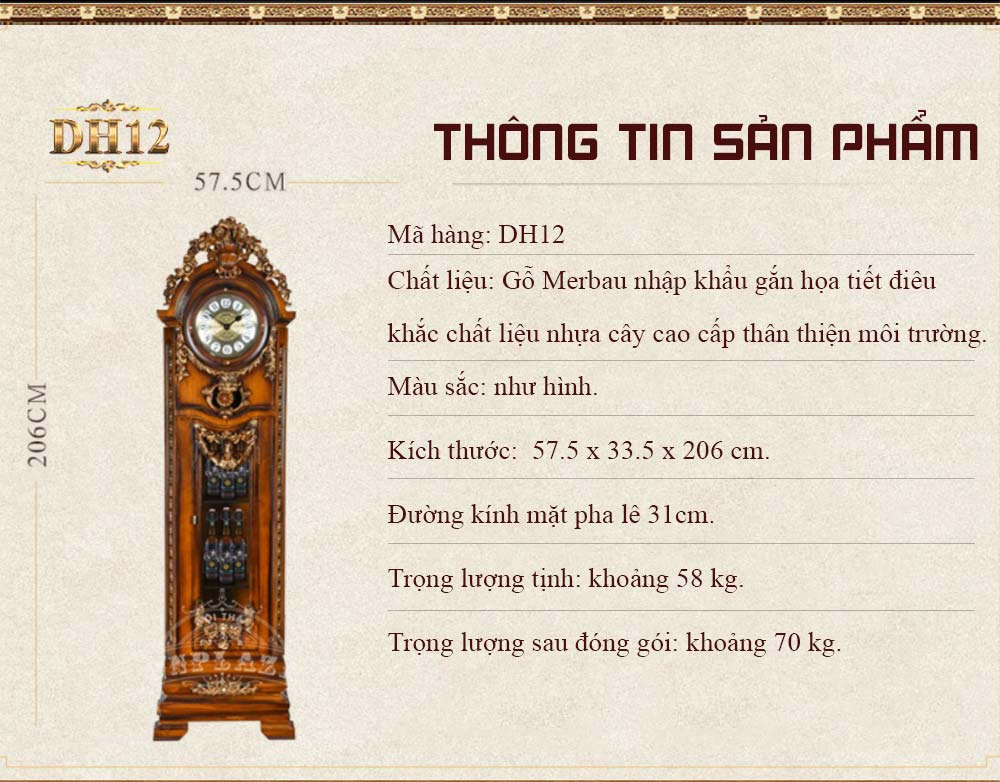 Đồng hồ DH12 phong cách châu âu cổ điển sang trọng