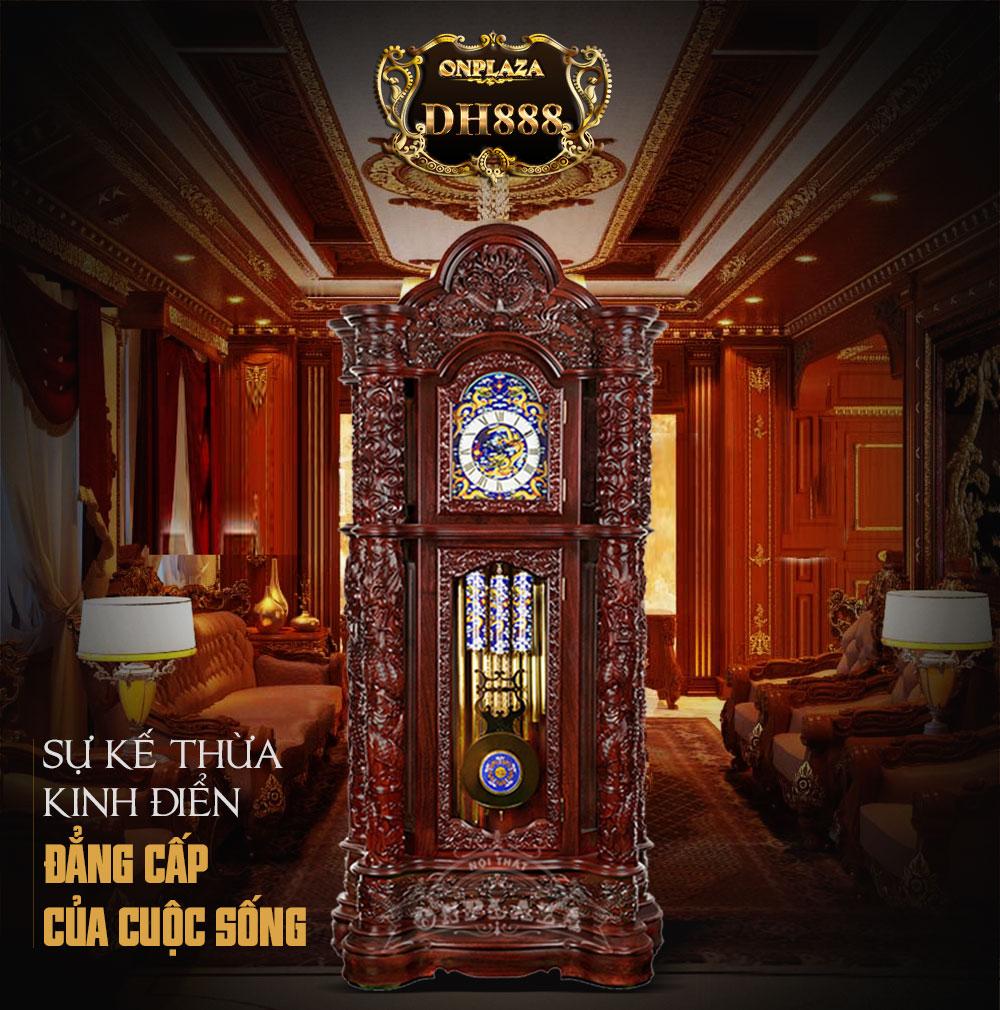Đồng hồ cây DH13 gỗ hương phong cách hoàng tộc chạm khắc Rồng nhả ngọc