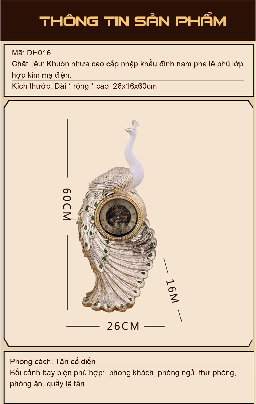 Đồng hồ để bàn tân cổ điển DH16 dáng khổng tước như ý cát tường