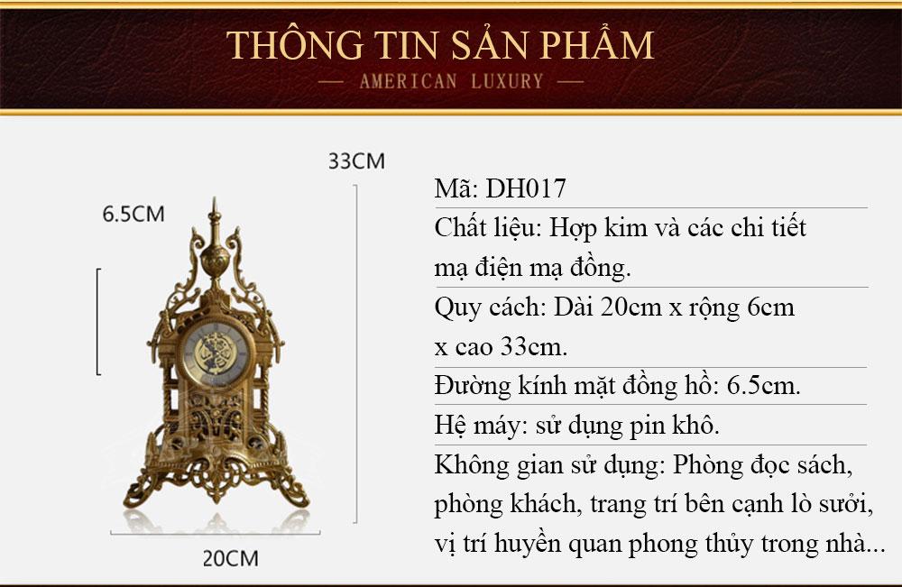 Đồng hồ để bàn DH17 phong cách châu âu sang trọng cổ điển