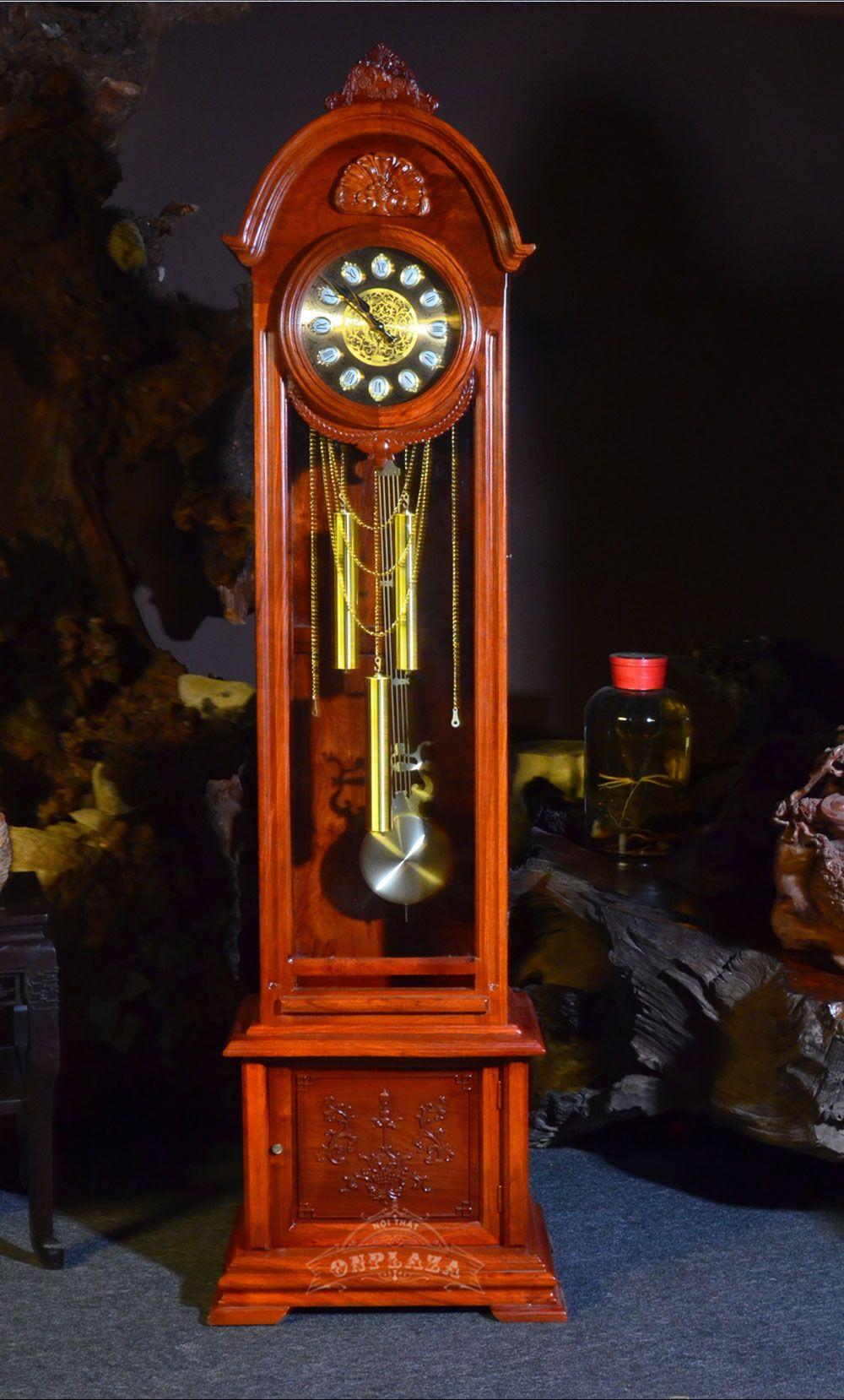 Đồng hồ cây DH18 gỗ hương đỏ điện tử nhập khẩu Hàn Quốc