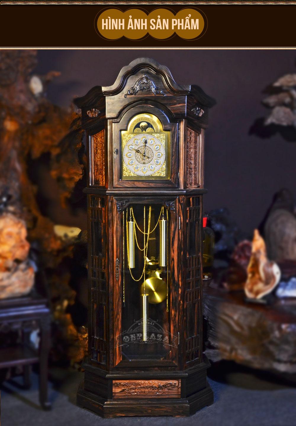 Đồng hồ cây DH19 lục lăng vuông gỗ mun hoa nhập khẩu