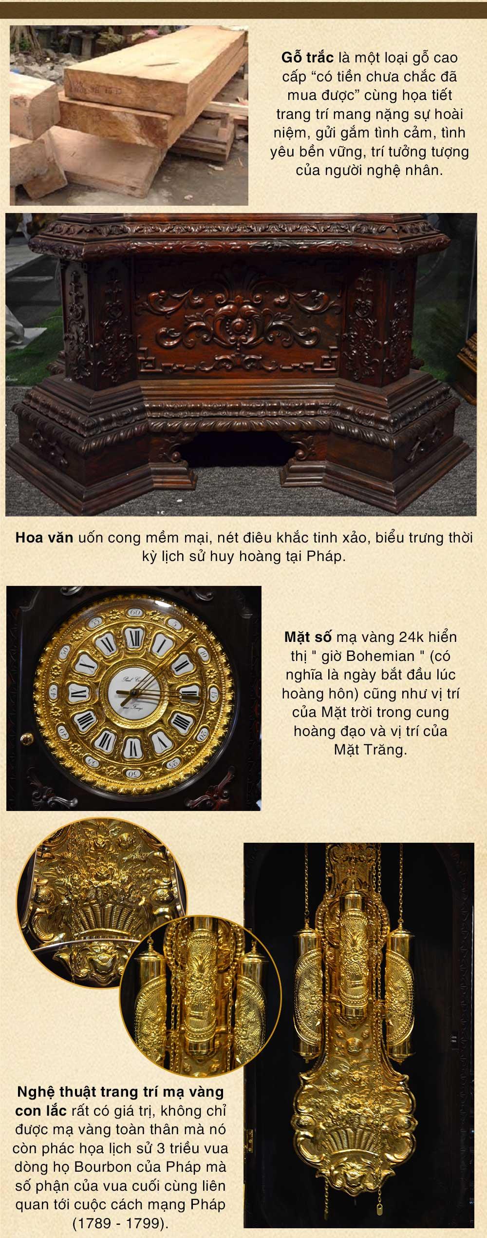 Đồng hồ cây gỗ trắc DH20 kiểu cổ Pháp mạ vàng 24k nhập khẩu