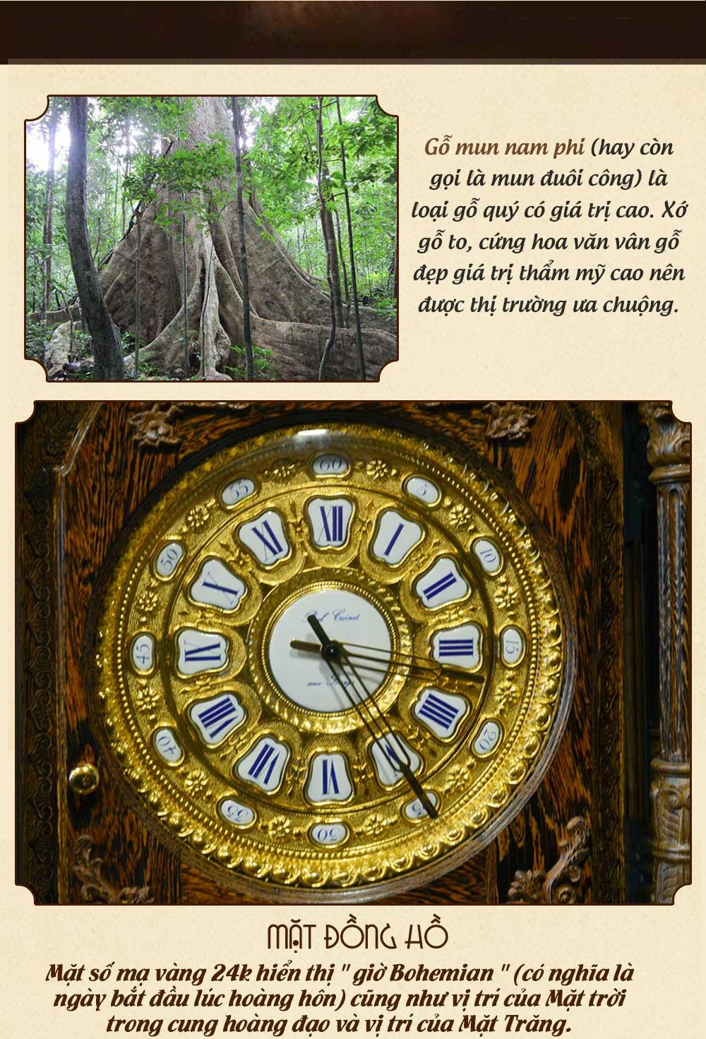 Đồng hồ cây cổ điển Pháp DH21 gỗ mun đuôi công nhập khẩu