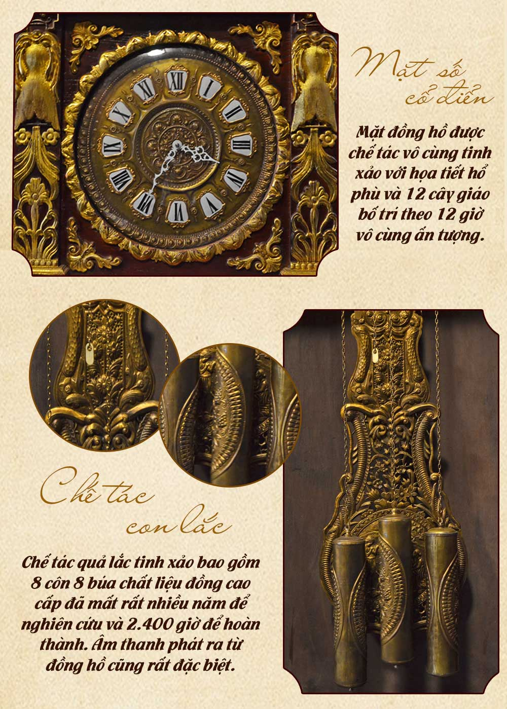 Đồng hồ cây cổ điển DH22 gỗ gụ mạ vàng nhập khẩu Đức