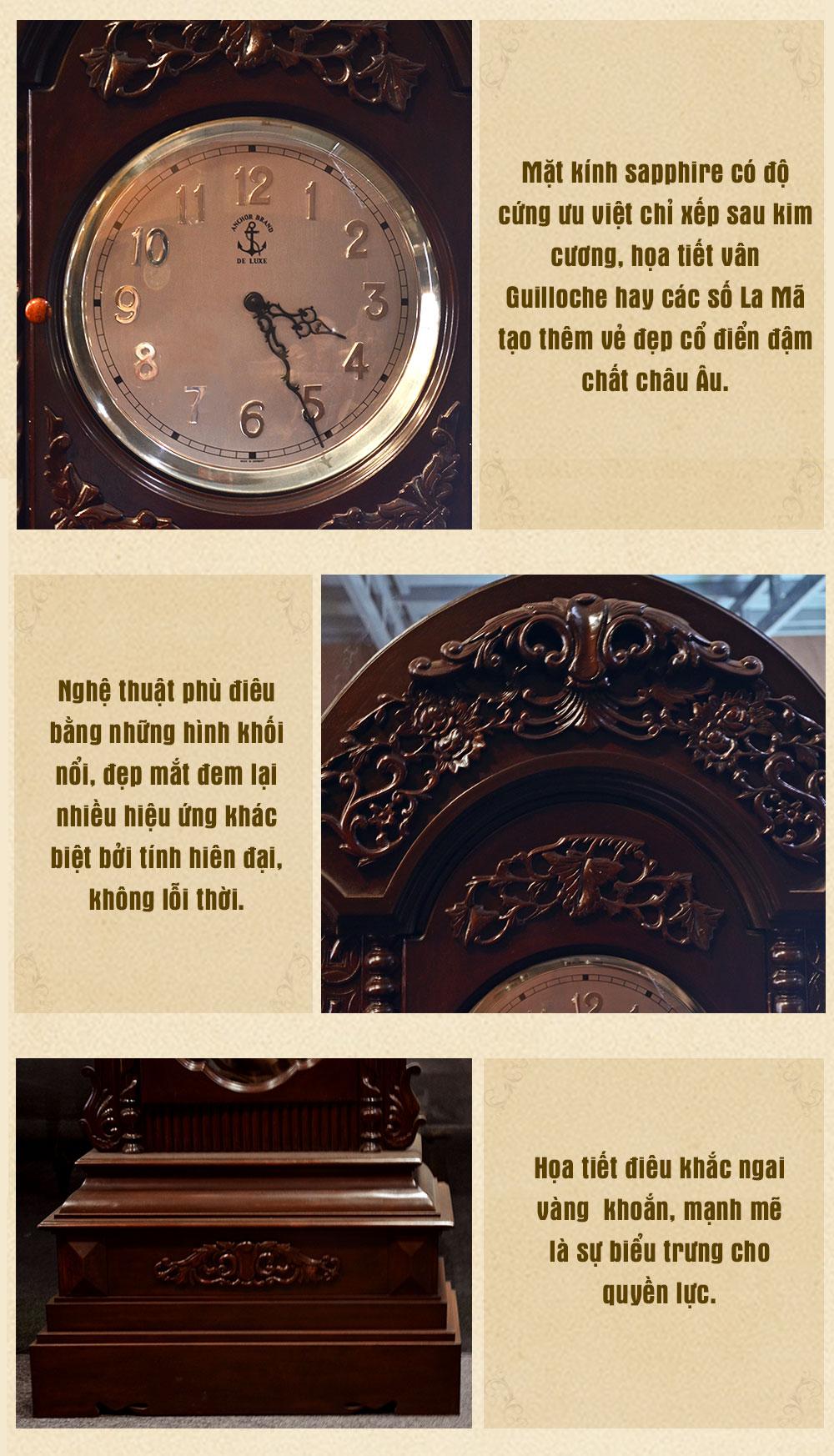Đồng hồ cây cổ điển Pháp DH23 gỗ gụ kiểu vỏ cánh nhập khẩu