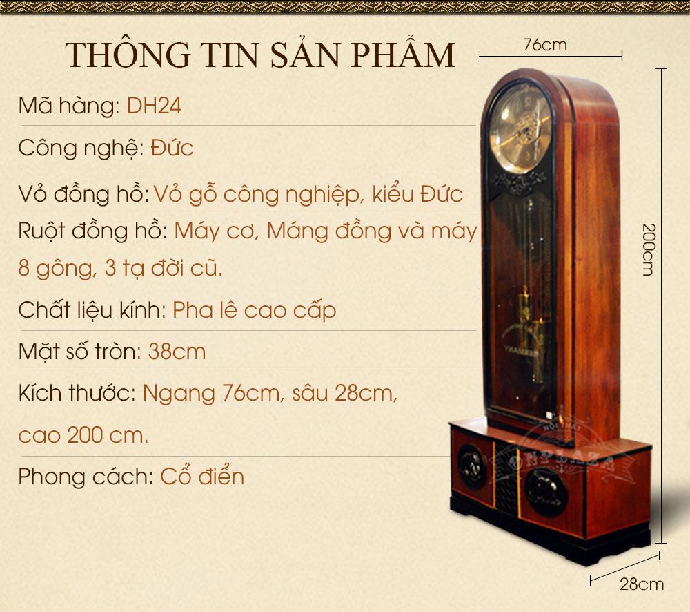 Đồng hồ cây cổ DH24 kiểu đầu trọc ông sư nhập khẩu