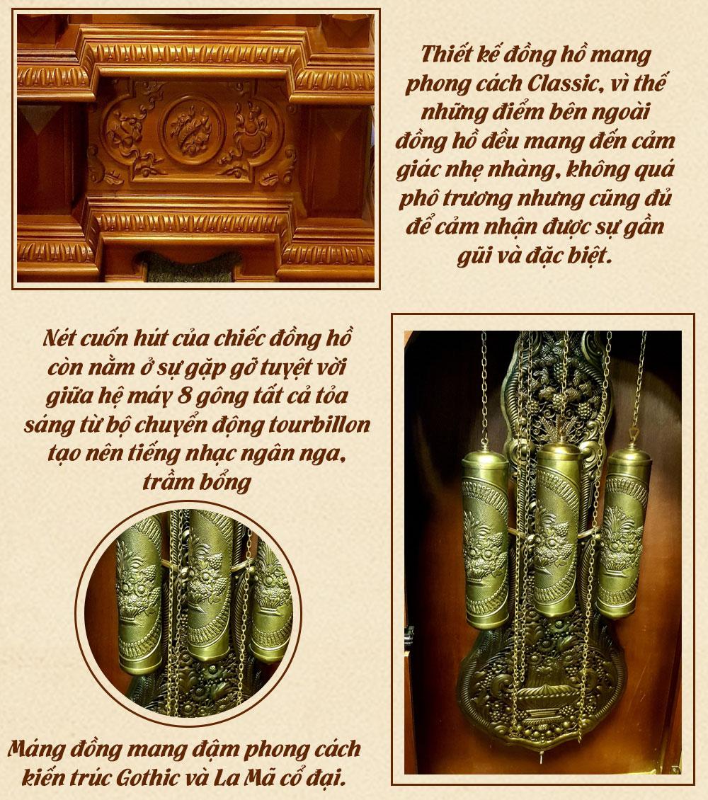 Đồng hồ cây cổ điển Pháp DH28 gỗ ngọc am nhập khẩu