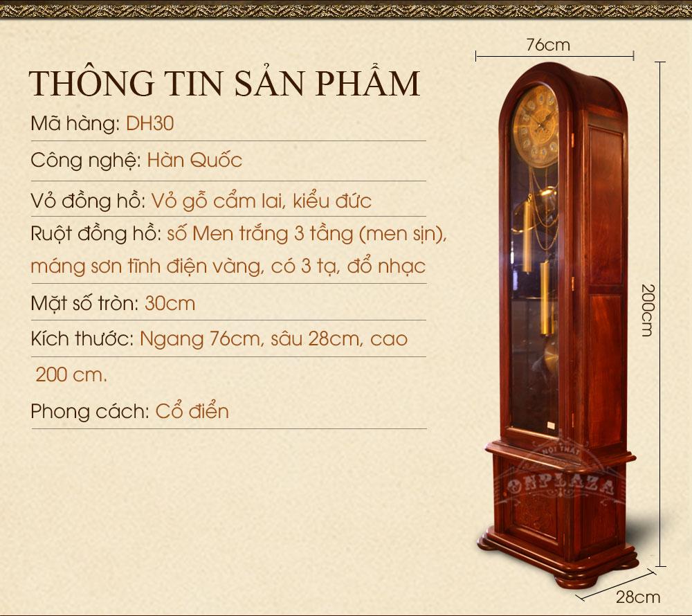 Đồng hồ cây gỗ gụ DH30 kiểu đầu ông sư nhập khẩu Hàn Quốc
