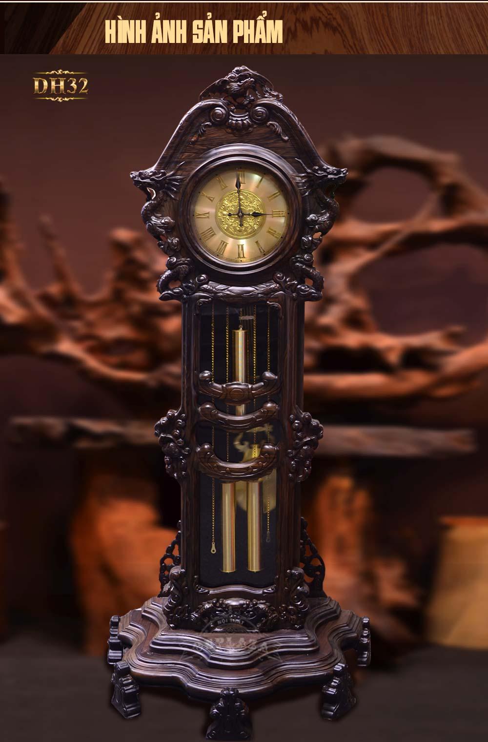 Đồng hồ cây hoa lá tây gỗ mun hoa( loại trung) DH32