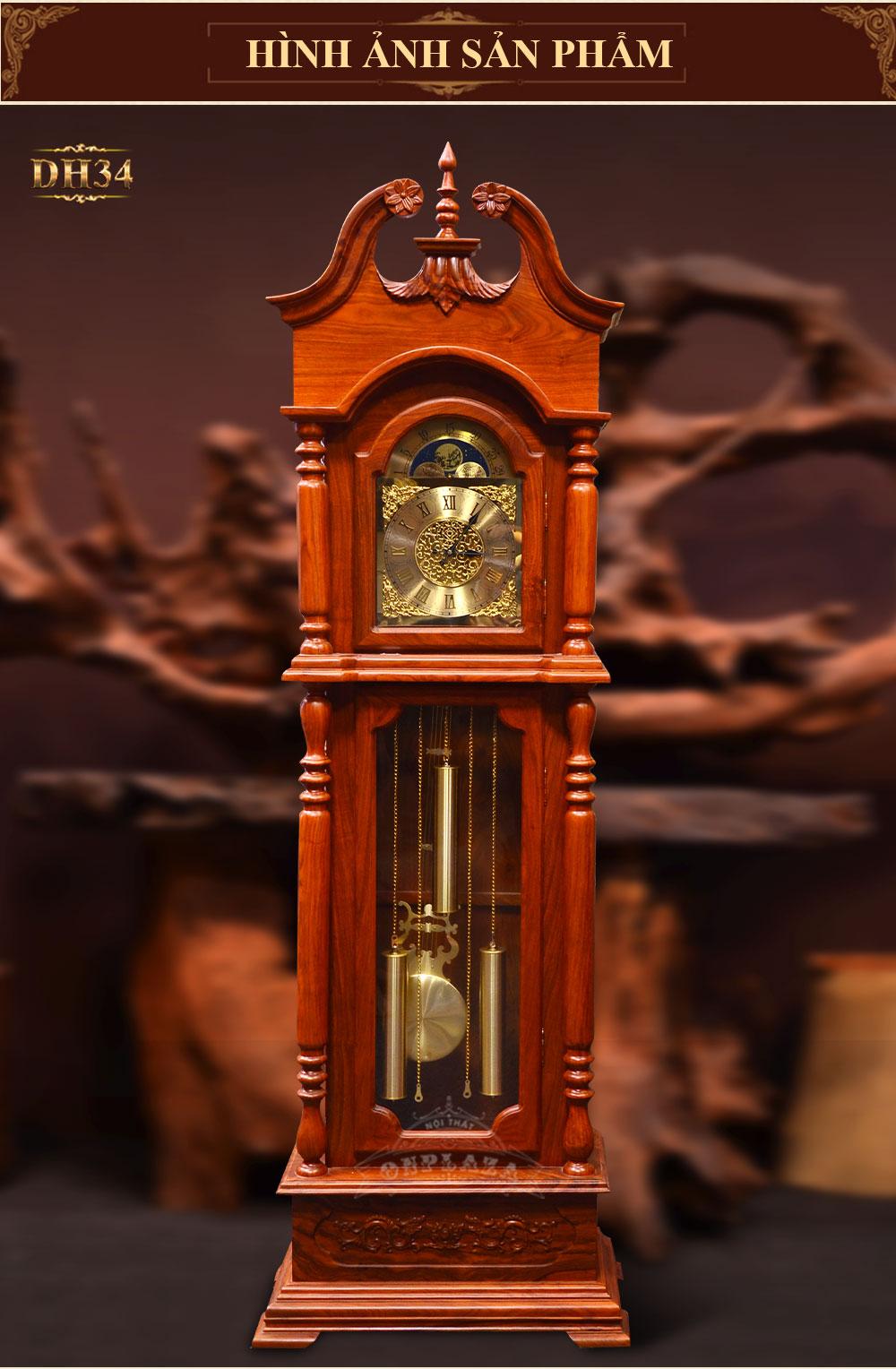 Đồng hồ cây vuông, móc mỏ, vân gỗ hương đỏ DH34