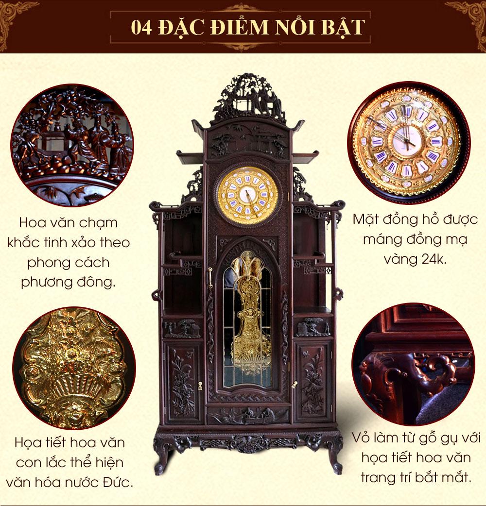 Đồng hồ mái chùa kiểu lối cổ quả tạ DH41