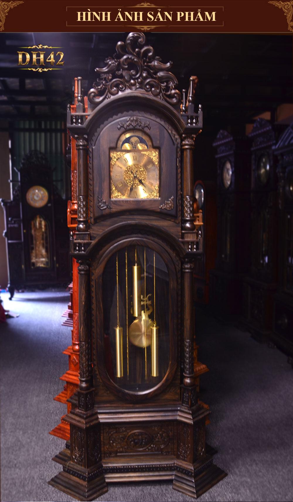 Đồng hồ cây tứ trụ gỗ mun hoa( loại đại) DH42