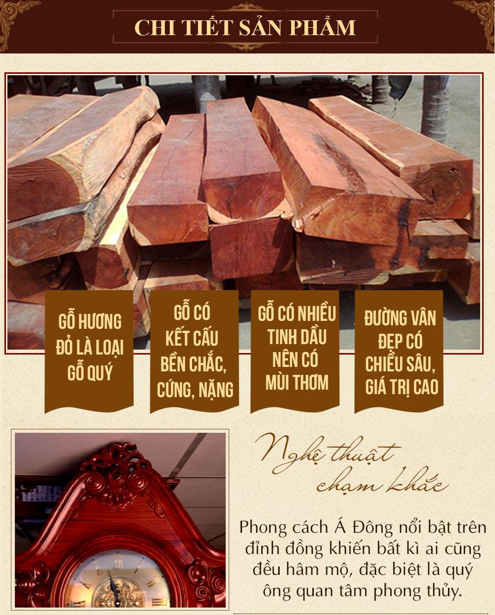 Đồng hồ cây hoa lá tây vân gỗ hương đỏ DH43