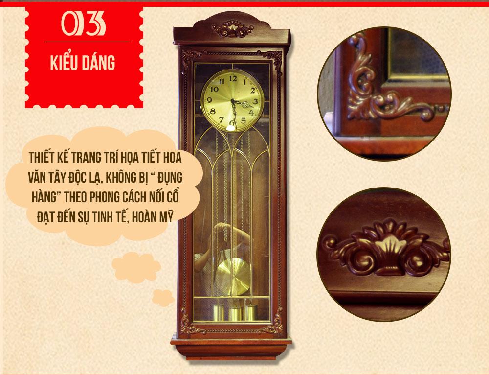 Đồng hồ treo tường 1.5m DH44 máy cơ 8 côn mặt 28 cm