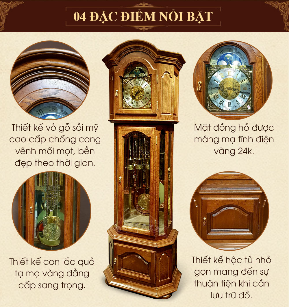 Đồng hồ thùng tây mặt trăng DH45 gỗ gụ Đức
