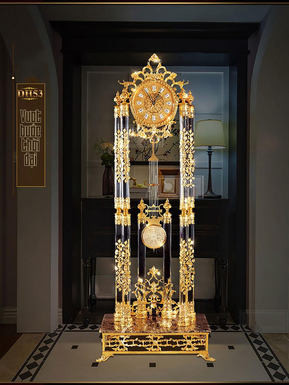 Đồng hồ cây pha lê mạ vàng DH53 kiểu dáng cổ điển cao cấp