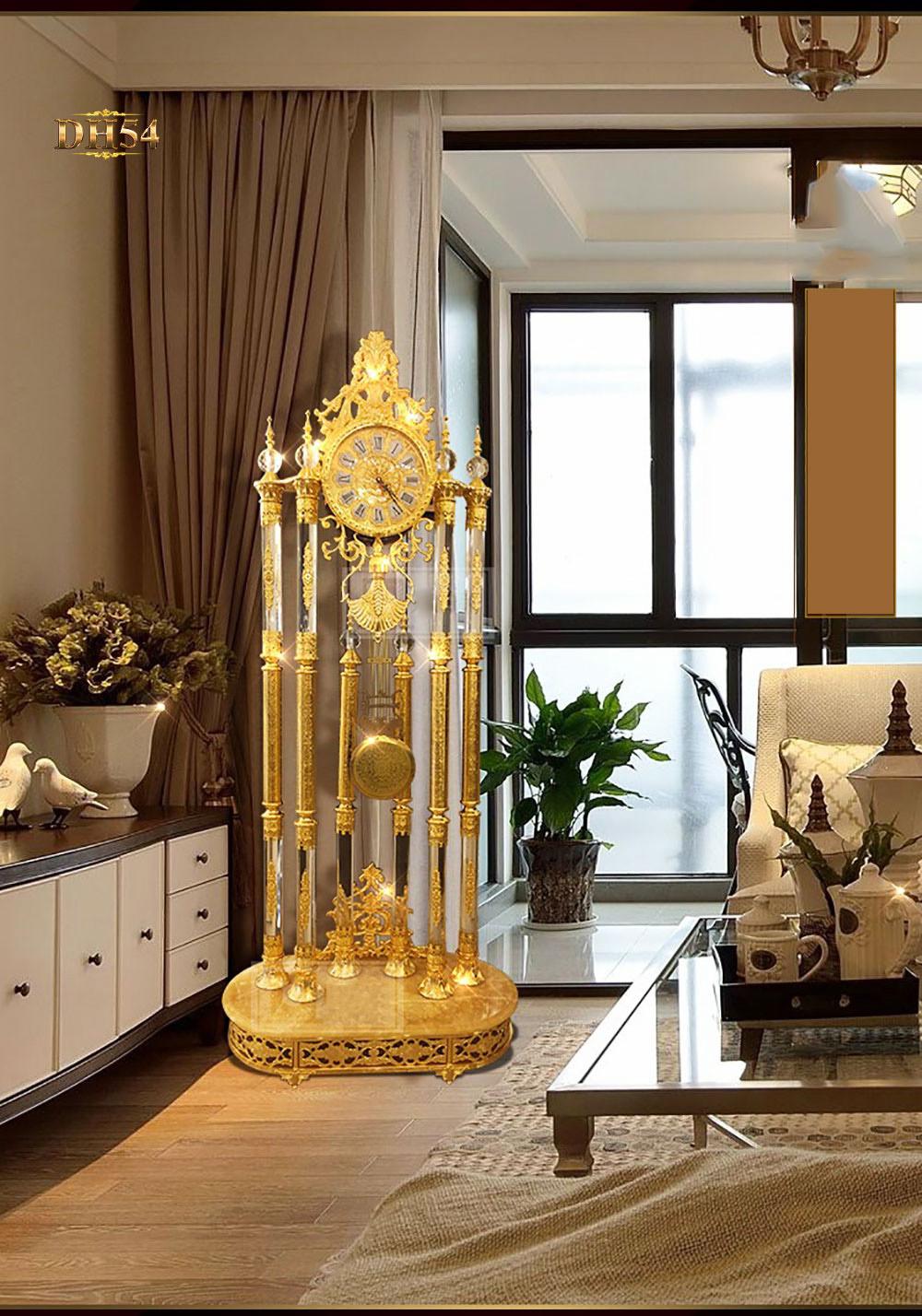 Đồng hô cây pha lê DH54 mạ vàng cao cấp phong cách châu Âu sang trọng