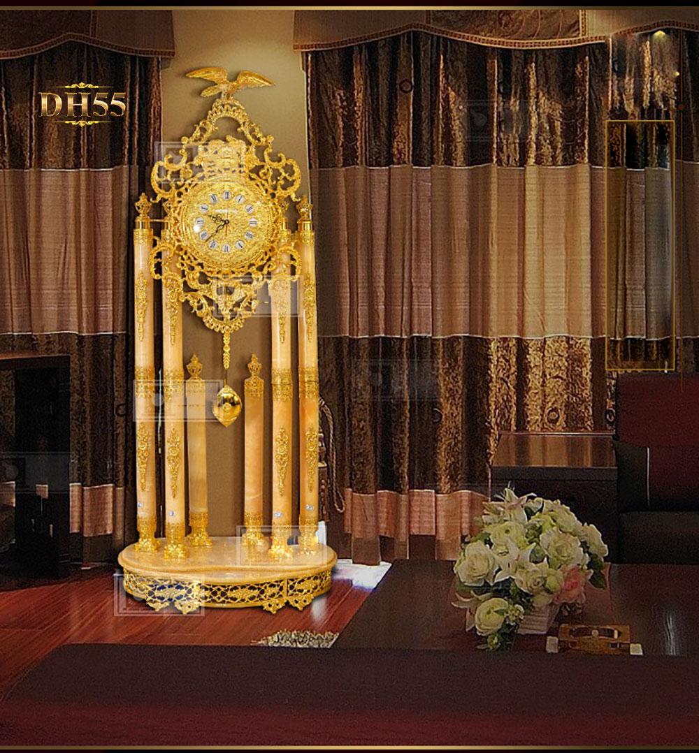 Đồng hồ cây DH55 đá ngọc bích phong thủy phong cach châu Âu cổ điển mạ vàng