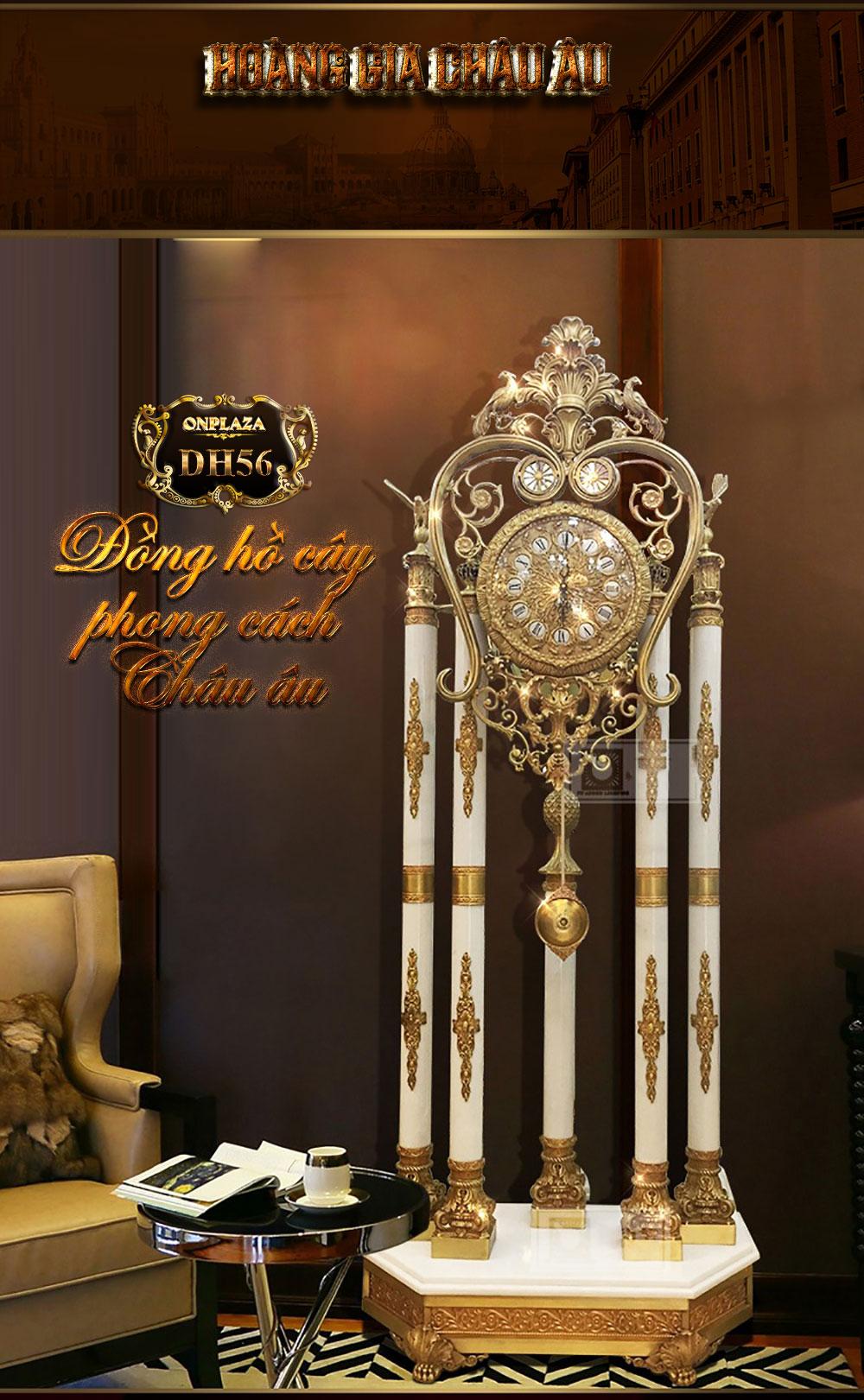 Đồng hồ cây đá phong thủy DH56 chạm khắc hoa văn phục cổ