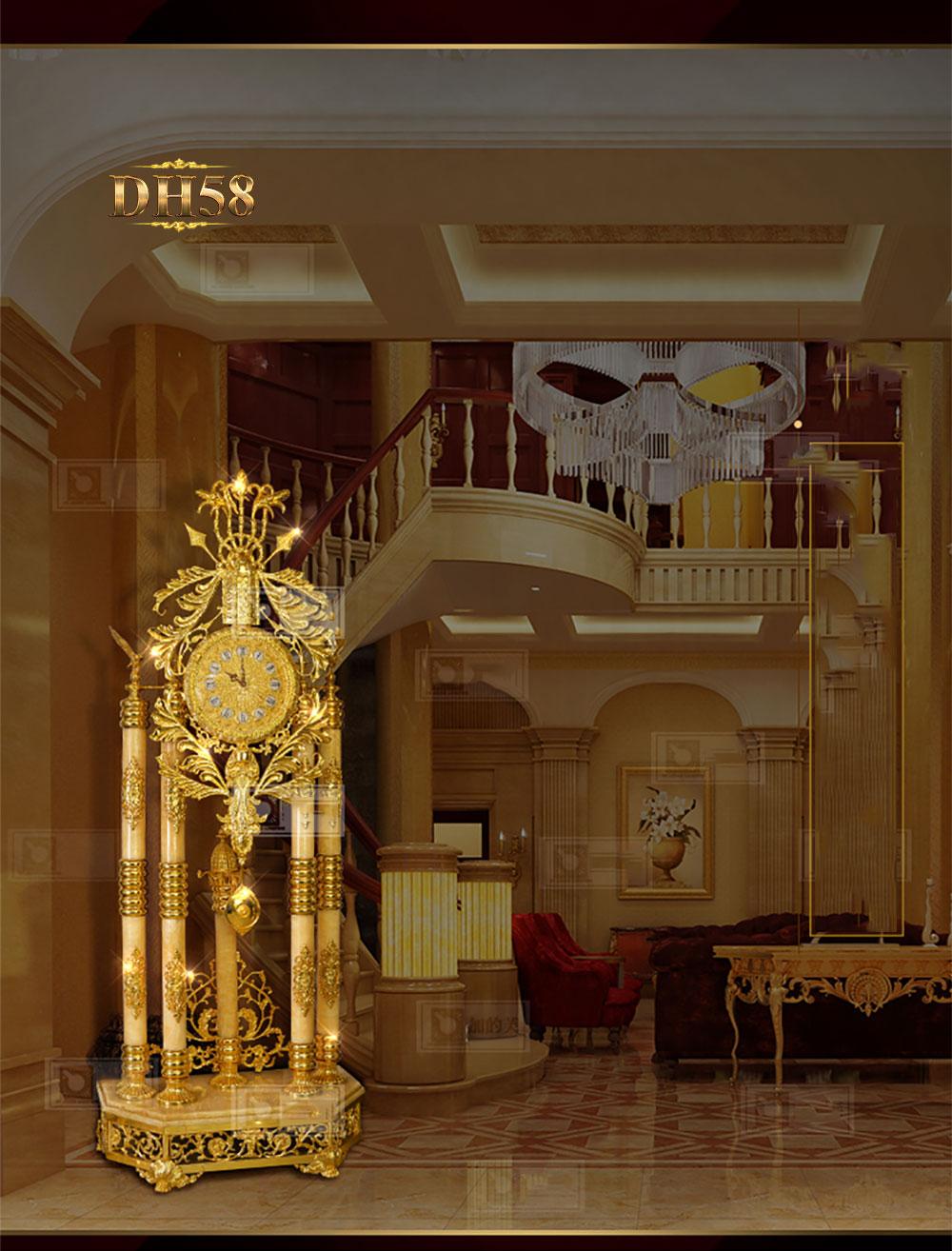 Đồng hồ cây cao cấp chạm khắc hoa văn tân cổ điền mạ vàng 24k sang trọng DH58