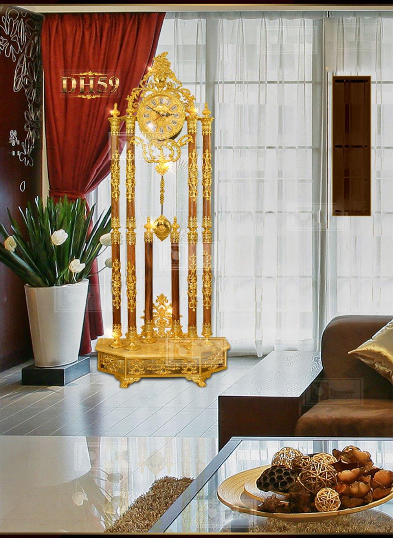 Đồng hồ cây cao cấp chạm khắc hoa văn tân cổ điền mạ vàng 24k sang trọng DH59