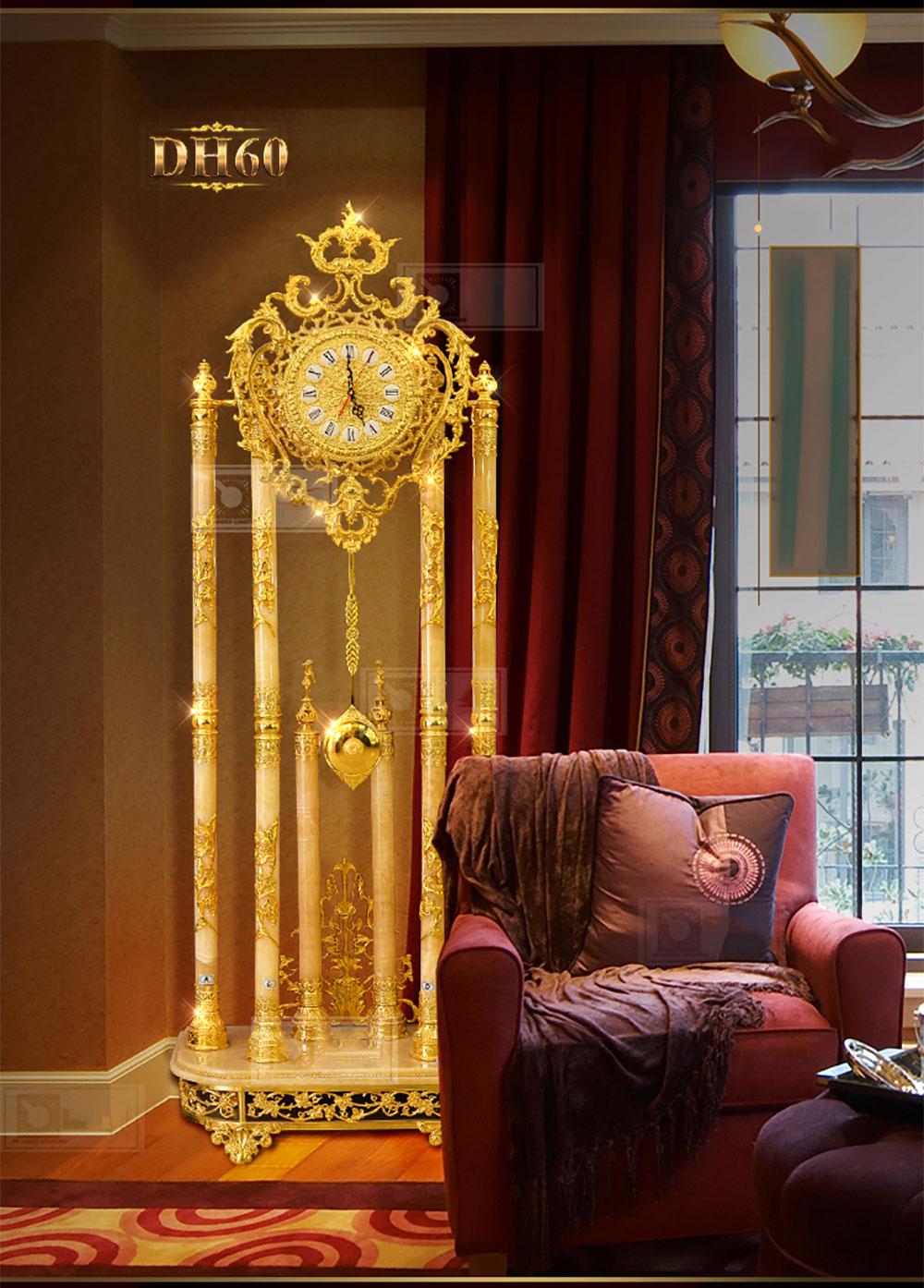 Đồng hồ cây đá ngọc bích DH60 phong thủy phong cách cổ điển mạ vàng 24k cao cấp