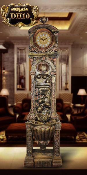 Đồng hồ cây giả cổ điển theo phong cách châu âu chạm khắc hoa văn đẹp