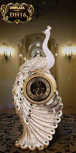 Đồng hồ để bàn tân cổ điển châu âu dáng khổng tước