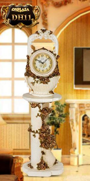 Mẫu đồng hồ cây tân cổ điển châu âu kiểu giỏ hoa bên vườn địa đàng