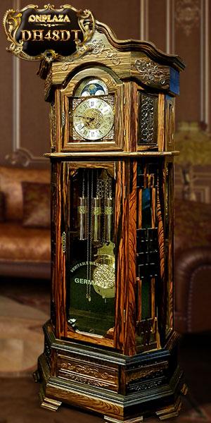 Đồng hồ cây kiểu lục lăng vuông, máy điện tử nhập khẩu Hàn Quốc, vỏ 100% gỗ mun hoa DH19
