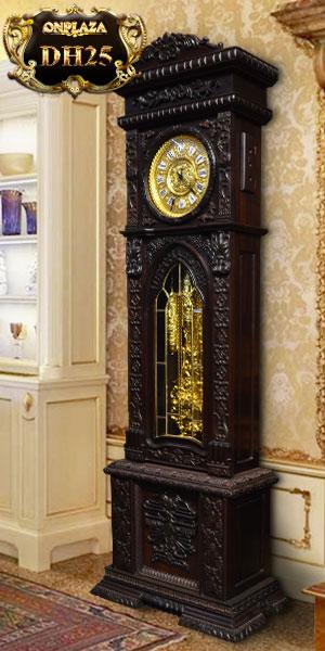 Đồng hồ cây cổ kiểu hồ phù gỗ gụ đẹp, kiểu đồng hồ cây nhập khẩu bằng gỗ máy cổ đức nguyên zin