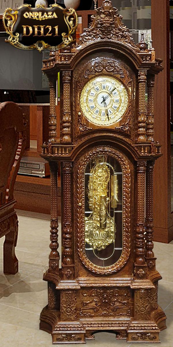 Đồng hồ cây cổ quả lắc gỗ mun đuôi công cổ điển pháp, đồng hồ cây máy cổ đức đẹp