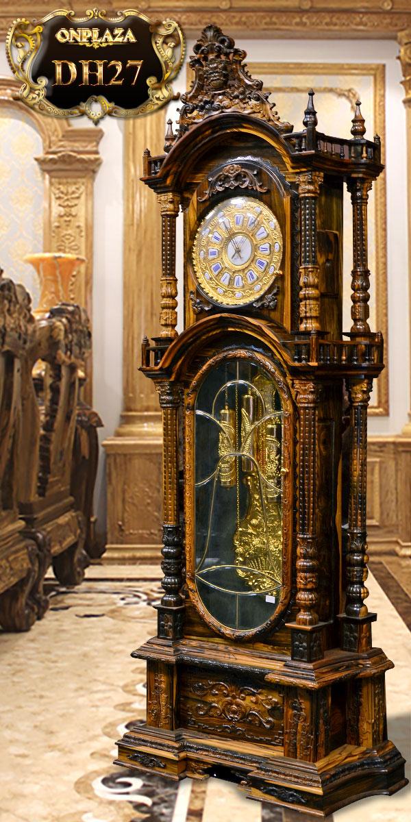 đồng hồ quả tạ cổ pháp gỗ mun hoa đẹp máy cơ cổ đức hàng nguyên zin