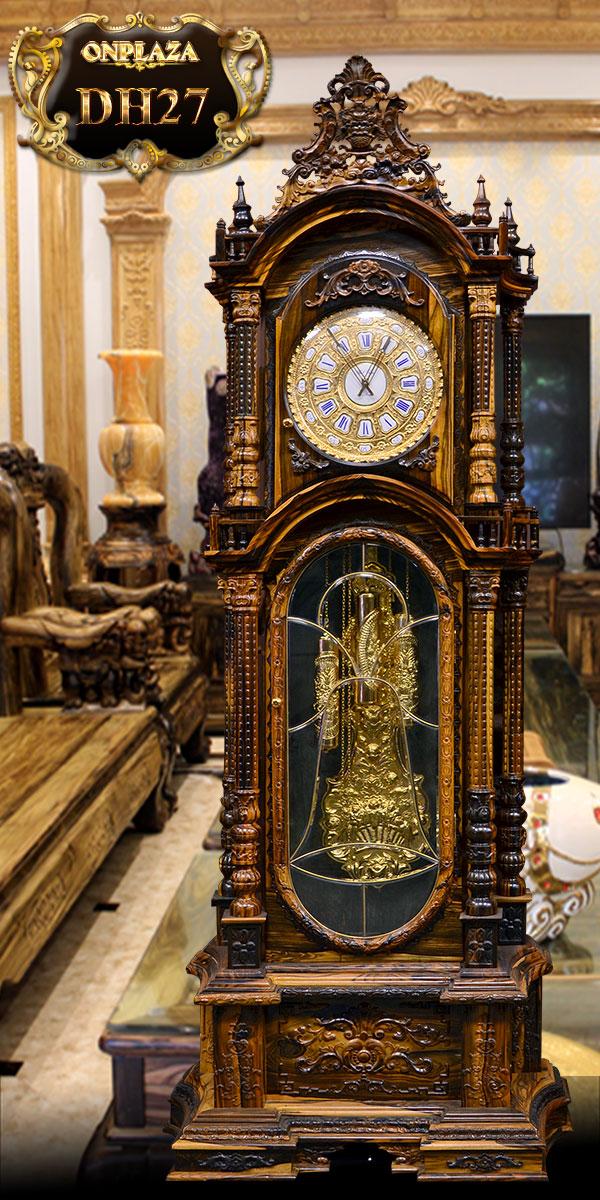 đồng hồ quả tạ cổ của pháp nhập khẩu châu âu, thuộc dòng đồng hồ gỗ mun đuôi công đẹp