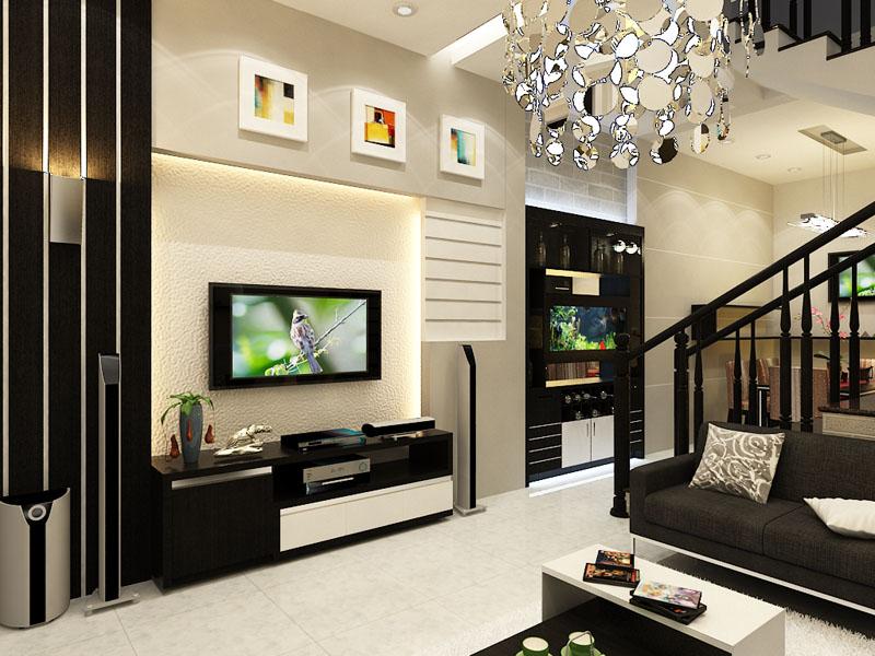Bí quyết trong trí phòng khách tối giản với màu đen trắng