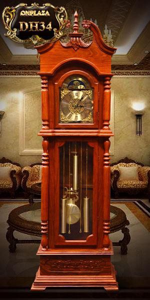 đồng hồ cây đẹp vân gỗ hương kiểu móc mỏ kiểu châu âu, máy điện tử nhập khẩu hàn