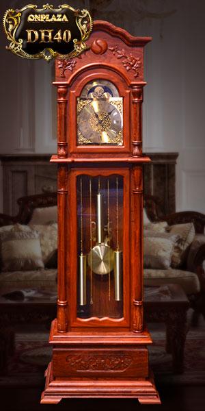 đồng hồ cây gỗ hương vân đỏ đẹp, máy điện tử nhập khẩu hàn quốc
