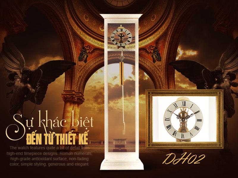 Kiểu đồng hồ cây máy cơ, đồng hồ cây quả lắc thiết kế đơn giản tinh gọn đến từng chi tiết mang đậm dấu ấn châu âu