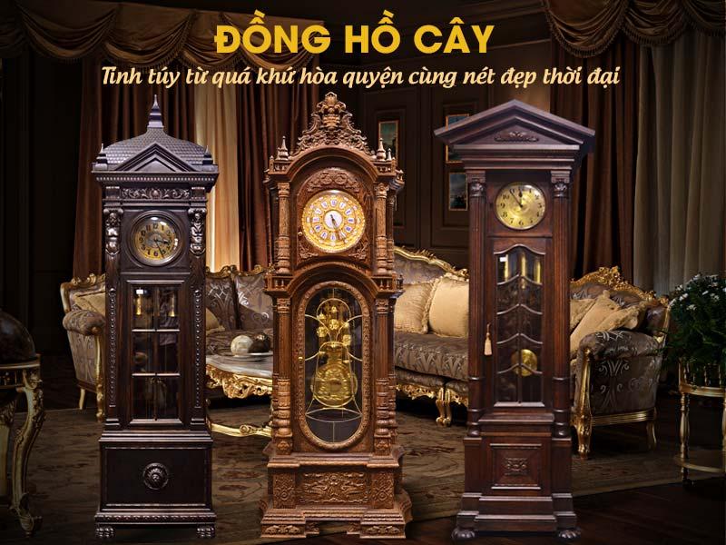 đồng hồ cây cổ, đồng hồ tủ đứng cổ mang dấu ấn đậm chất xưa trong những chiếc đồng hồ cây cổ đức, pháp