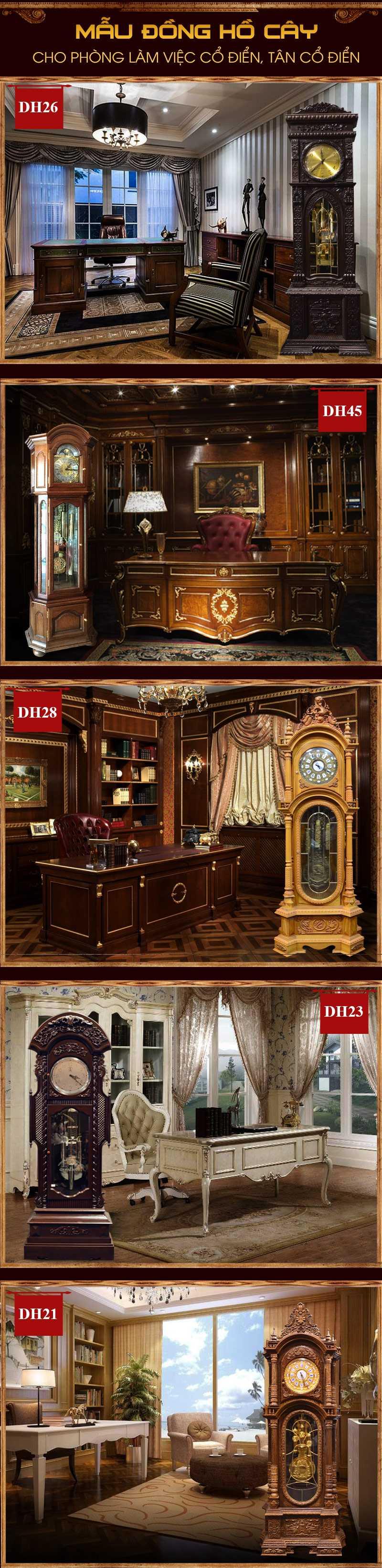 Cách bố trí mẫu đồng hồ cây tân cổ điển, cổ điển đẹp cho phòng làm việc