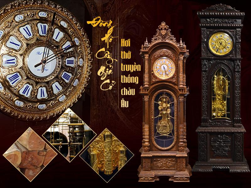 Những chi tiết trên chiếc đồng hồ giả cổ châu âu đều được nghệ nhân chăm chút tỉ mỉ để tạo nên tuyệt tác