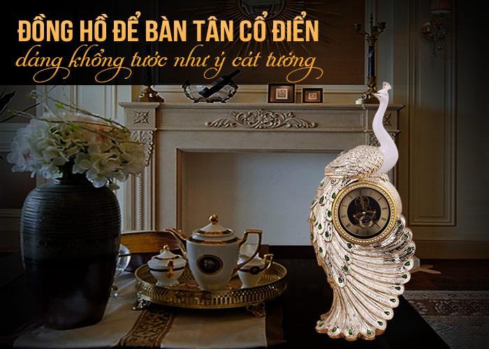 Mẫu đồng hồ để bàn dáng khổng tước phong cách châu âu đẹp