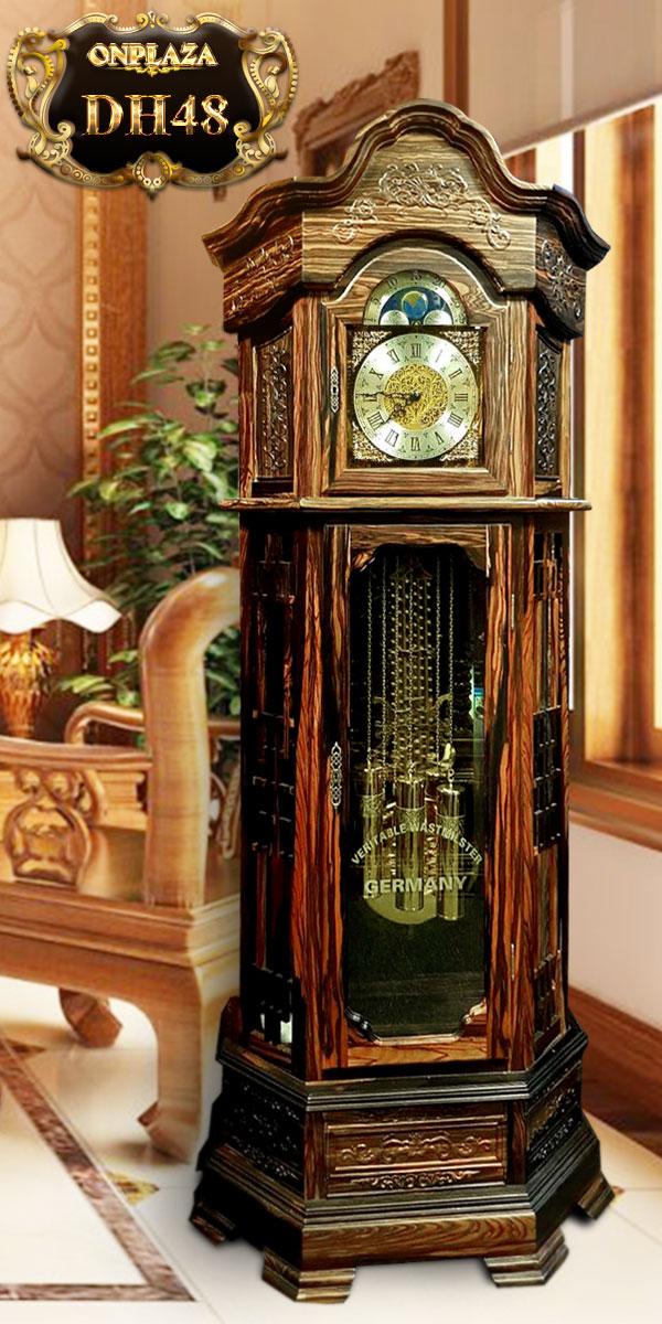 Đồng hồ cây máy cơ cổ Đức DH48 vỏ gỗ mun hoa kiểu lục lăng vuông 1