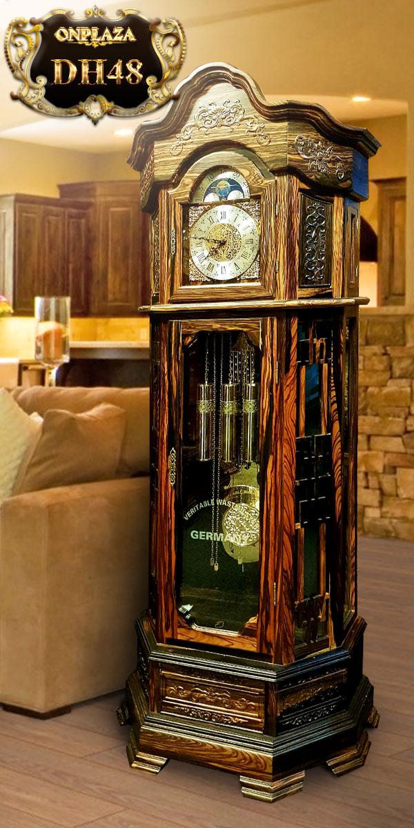 Đồng hồ cây máy cơ cổ Đức DH48 vỏ gỗ mun hoa kiểu lục lăng vuông