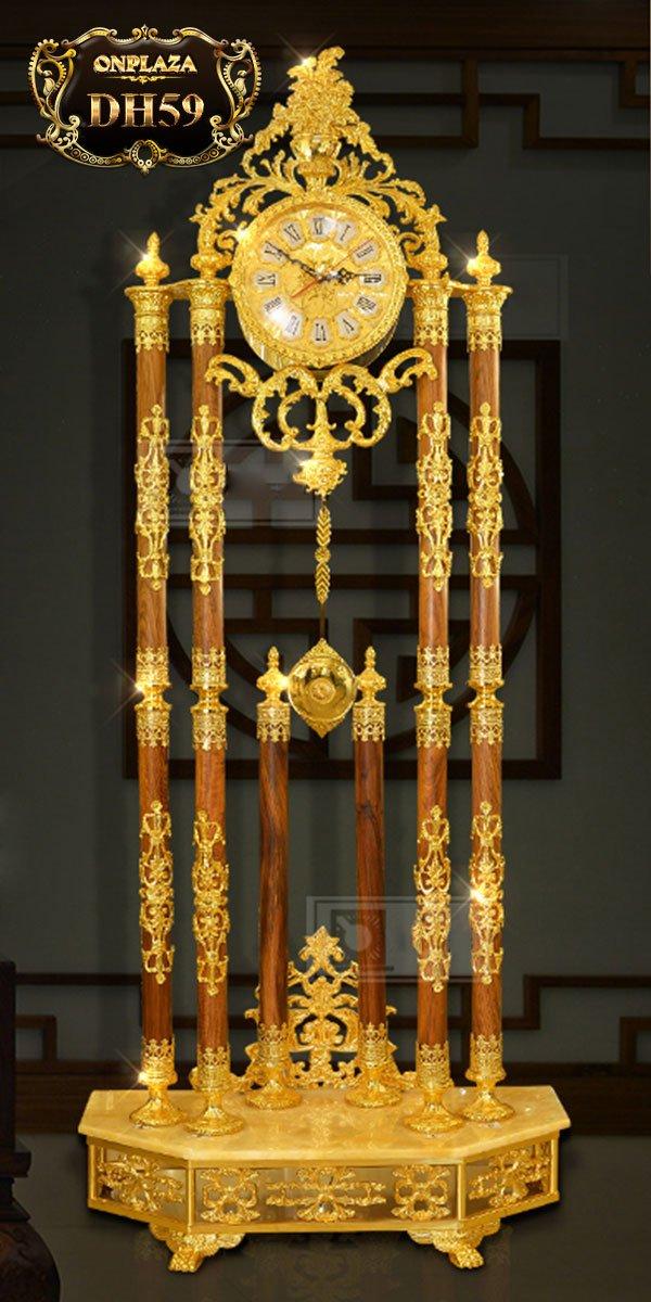 Đồng hồ cây cao cấp chạm khắc hoa văn tân cổ điền mạ vàng 24k sang trọng DH59 1