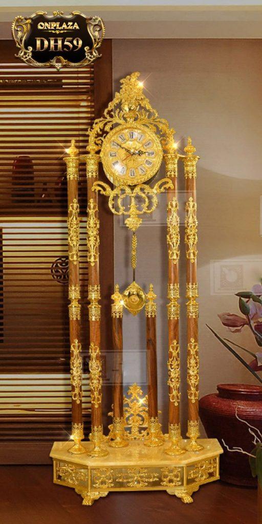 Đồng hồ cây cao cấp chạm khắc hoa văn tân cổ điền mạ vàng 24k sang trọng DH59 2