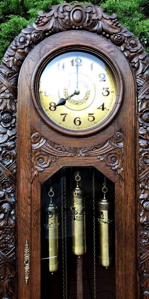 Đồng hồ tủ đầu ông sư cổ độc hãng LAUFER 4